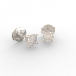 Platinum Diamond stud 4 prong earrings Paris collection