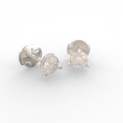 Boucles d'oreilles Paris 3 griffes tulipe diamant