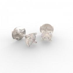 Boucles d'oreilles Paris 4 griffes tulipe diamant