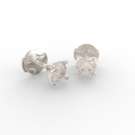 Platinum Diamond stud 4 tulip prong earrings Paris collection