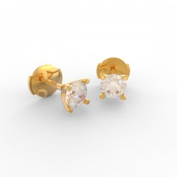 Gold Diamond stud 4 tulip prong earrings Paris collection