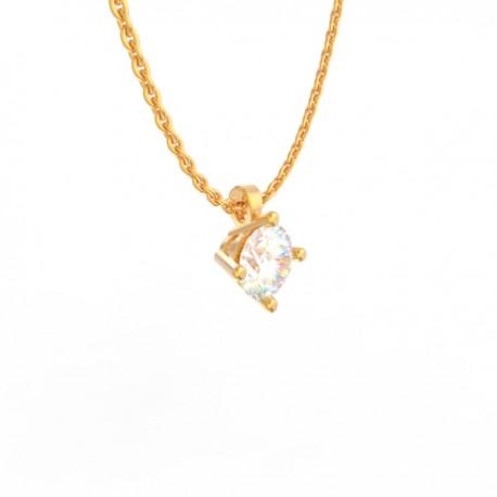 Gold Diamond pendant Paris collection small chain loop