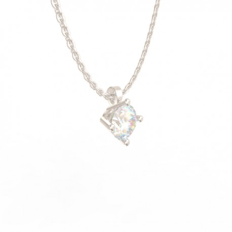 Platinum Diamond 4 claw Pendant Paris collection small chain loop