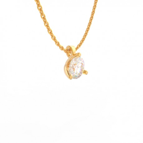 Gold Diamond pendant Paris collection small chain loop