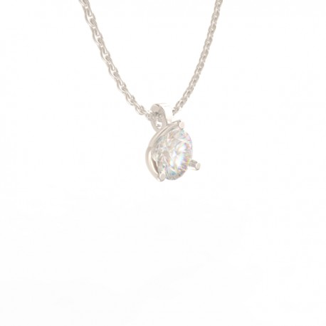 Platinum Diamond 3 claw Pendant Paris collection small chain loop