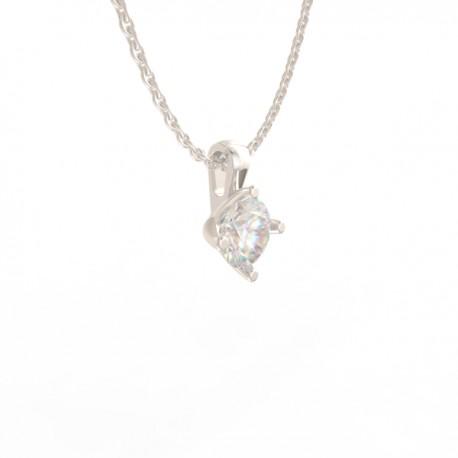 Platinum Diamond 4 tulip claw Pendant Paris collection small chain loop