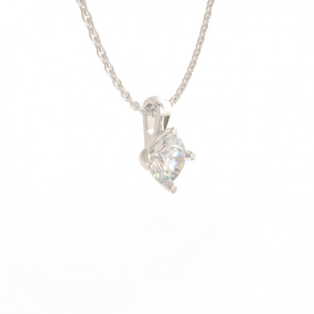Platinum Diamond 4 tulip claw Pendant Paris collection large chain loop