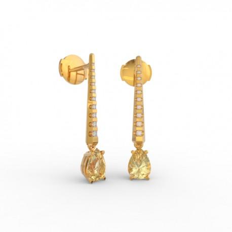 Earrings Dubai articulated gold citrine 18 dts