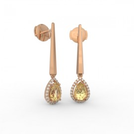 Earrings Dubai articulated gold citrine 44 dts