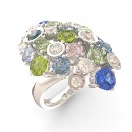 Bague joaillerie Amsterdam longue saphir bleu 17 pierres 11 diamants