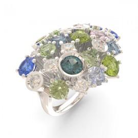 Bague joaillerie Amsterdam large saphir bleu 17 pierres 11 diamants