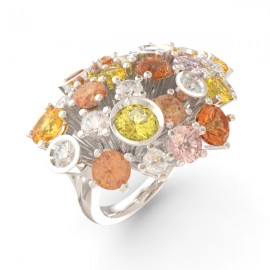 Bague joaillerie Amsterdam large saphir jaune 17 pierres 11 diamants