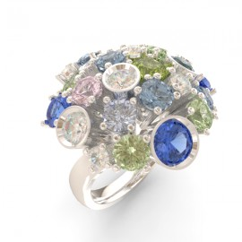Bague joaillerie Amsterdam ronde saphir bleu 17 pierres 11 diamants