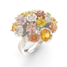 Bague joaillerie Amsterdam ronde saphir jaune 17 pierres 11 diamants