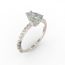Solitaire Aigue-marine Dubaï 16 diamants