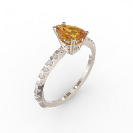 Solitaire Citrine Cognac Dubaï 16 diamants