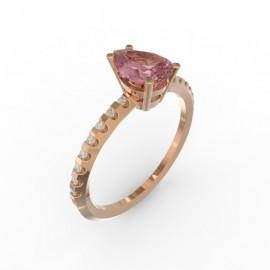 Solitaire Saphir Rose Dubaï 16 diamants