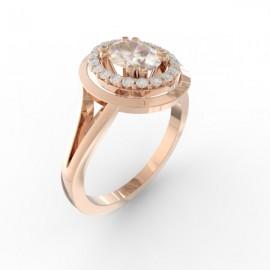 Bague joaillerie Manhattan diamant ovale 20 diamants