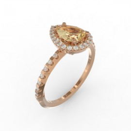 Solitaire Dubai hexagonal gold citrine 29 dts