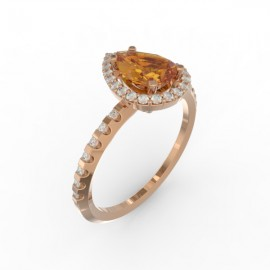 Solitaire Dubai hexagonal orange citrine 29 dts