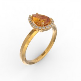 Solitaire Dubai hexagonal orange citrine 22 dts