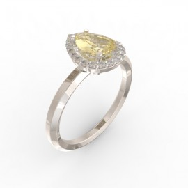 Solitaire Dubai hexagonal gold citrine 22 dts