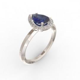 Solitaire Dubai hexagonal blue sapphire 22 dts