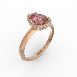 Solitaire Dubai hexagonal pink sapphire 22 dts