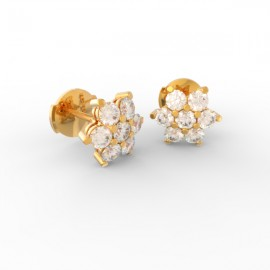 Gold Diamond flower studs Paris collection