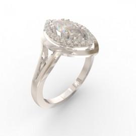 Bague joaillerie Manhattan diamant navette 22 diamants
