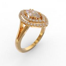 Bague joaillerie Manhattan diamant navette 54 diamants