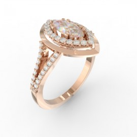 Bague joaillerie Manhattan diamant navette 58 diamants