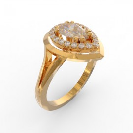 Bague joaillerie Manhattan diamant poire 21 diamants