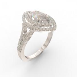Bague joaillerie Manhattan diamant navette 90 diamants
