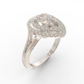 Bague joaillerie Manhattan diamant poire 51 diamants