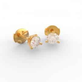 Boucles d'oreilles Paris 3 griffes diamant