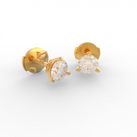 Gold Diamond stud 3 prong round diamond earrings Paris
