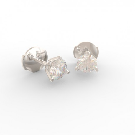Platinum round diamond stud 3 prong earrings Paris