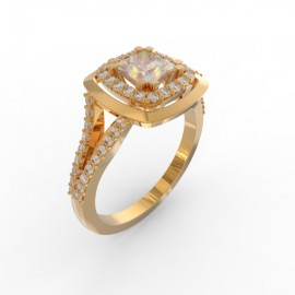 Bague joaillerie Manhattan diamant princesse 56 diamants