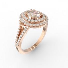 Bague joaillerie Manhattan diamant ovale 84 diamants