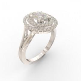 Bague joaillerie Manhattan diamant ovale 48 diamants