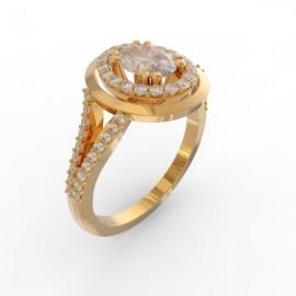 Bague joaillerie Manhattan diamant ovale 56 diamants