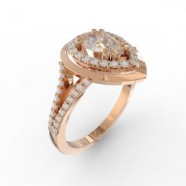 Bague joaillerie Manhattan diamant poire 57 diamants