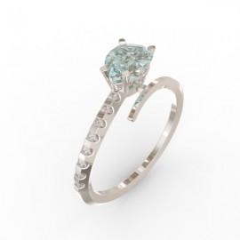 Bague Toi et Moi Aigue-marine 8 diamants Dubaï