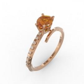 Bague Toi et Moi Citrine Cognac 8 diamants Dubaï