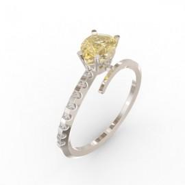 Bague Toi et Moi Citrine Gold 8 diamants Dubaï