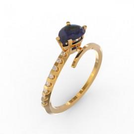 Bague Toi et Moi Saphir Bleu 8 diamants Dubaï
