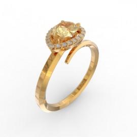 Toi & Moi ring Dubai single gold citrine 22 dts