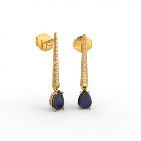 Earrings Dubai articulated blue sapphire 18 dts