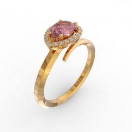 Toi & Moi ring Dubai single pink sapphire 22 dts